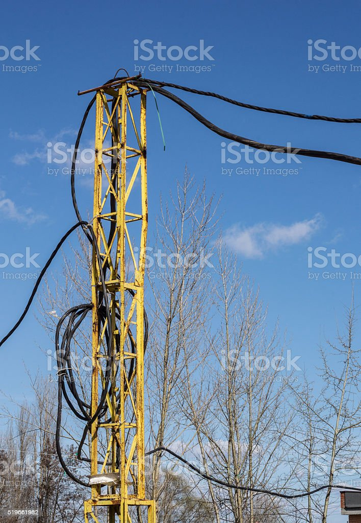 Electric wires placed temporarily on the support stock photo