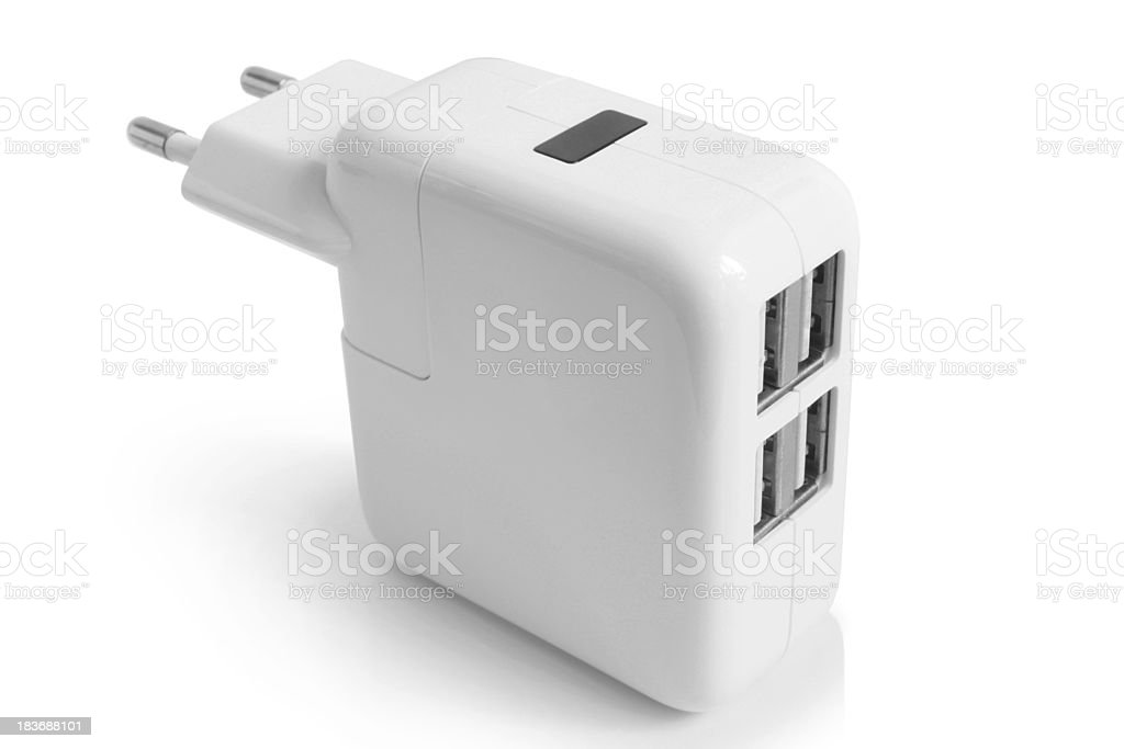Electrical adapter to USB ports royalty-free stock photo