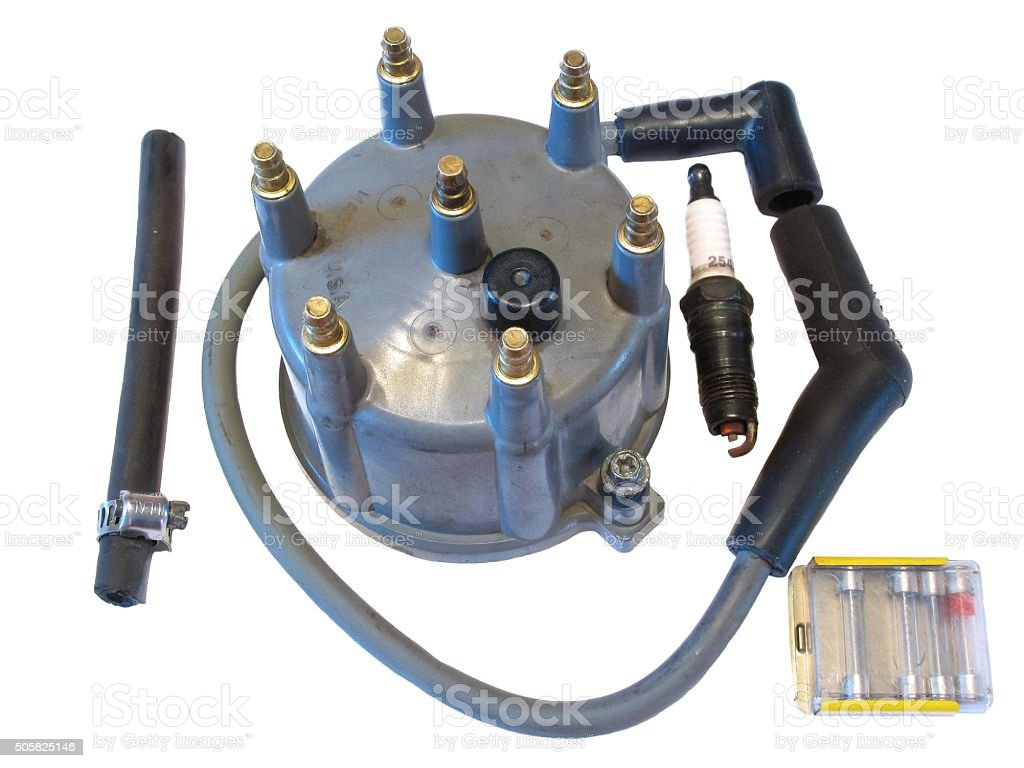 Electrical and engine parts for auto on white. stock photo