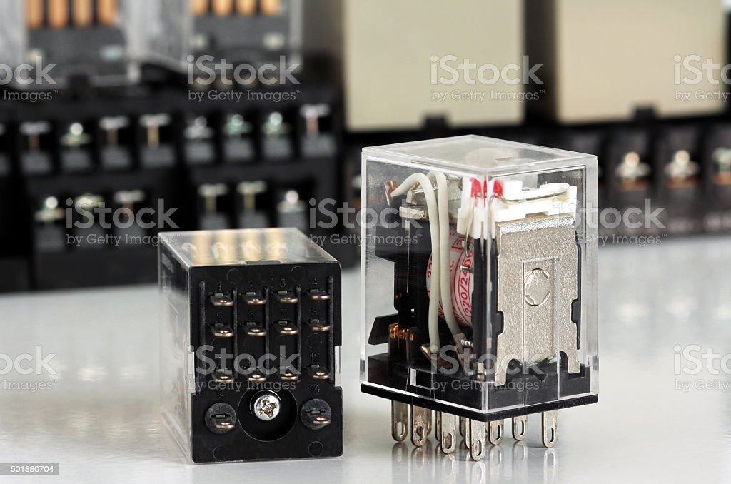 Electrical Auxiliary Relay stock photo