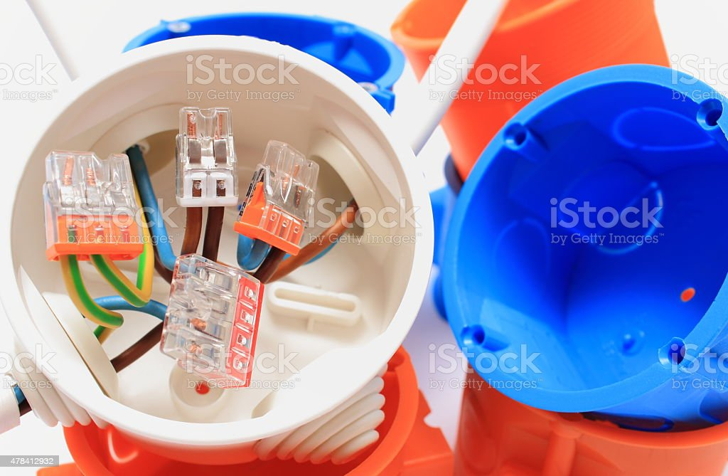 Electrical box with cables and components for use in installations stock photo