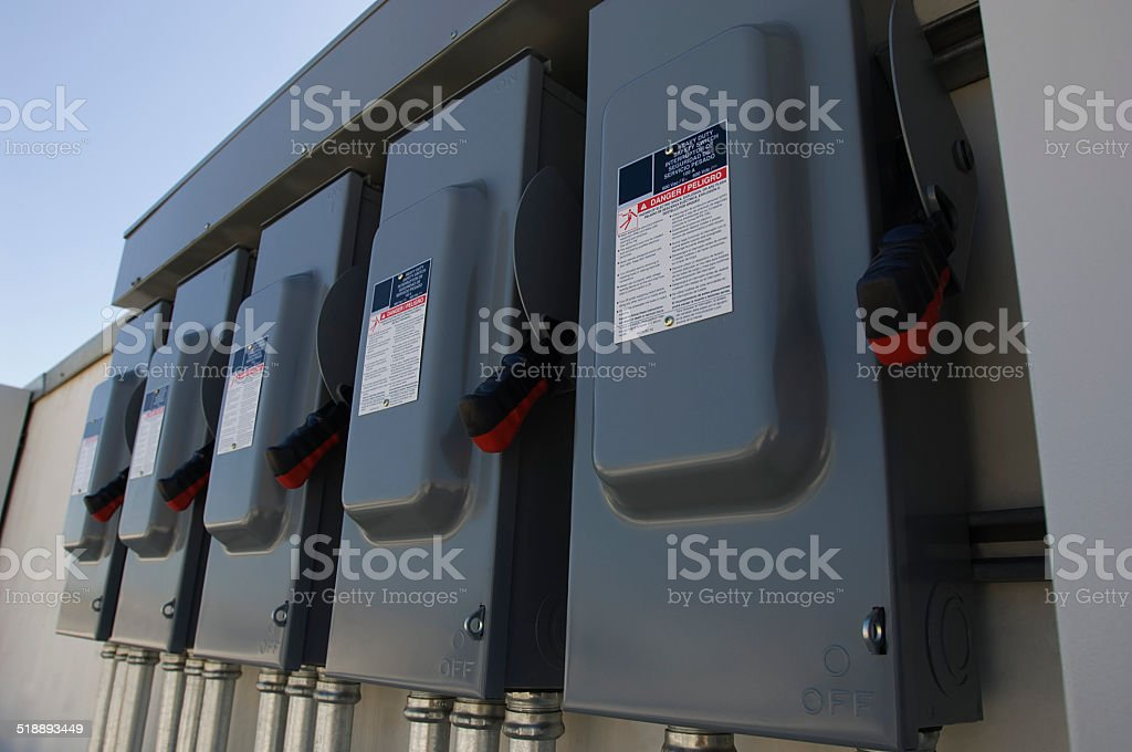 Electrical Breaker Boxes at Solar Power Plant stock photo