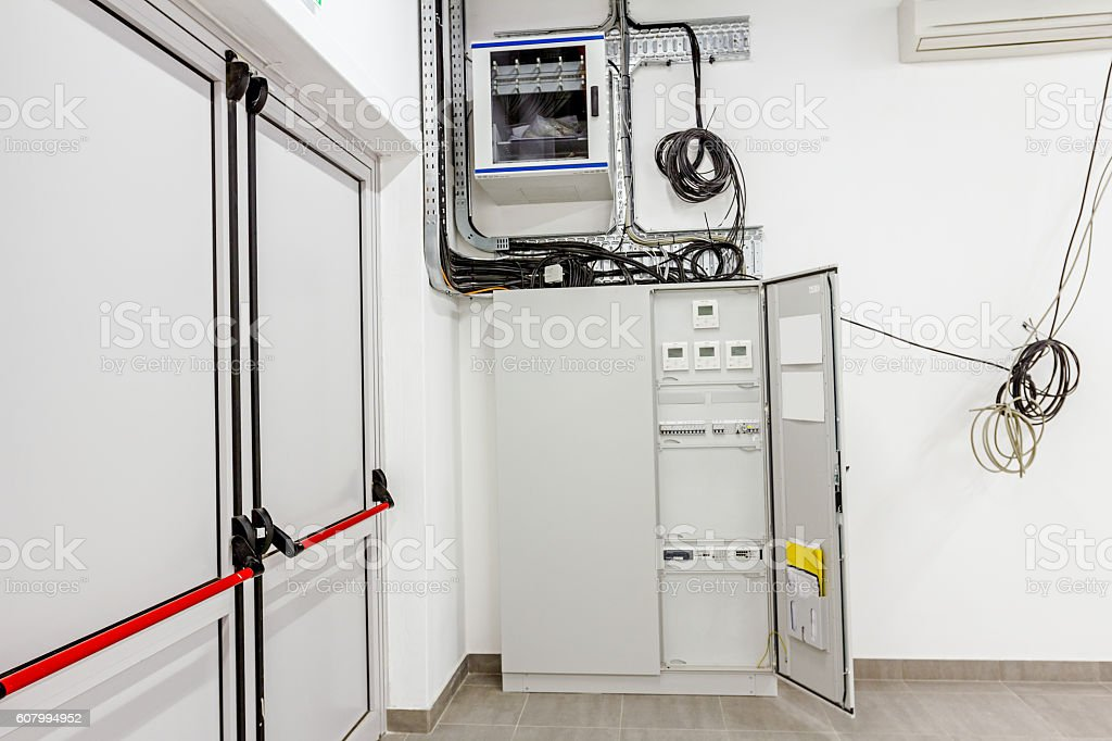 Electrical cabinet with automatic fuse switches and modern digit stock photo