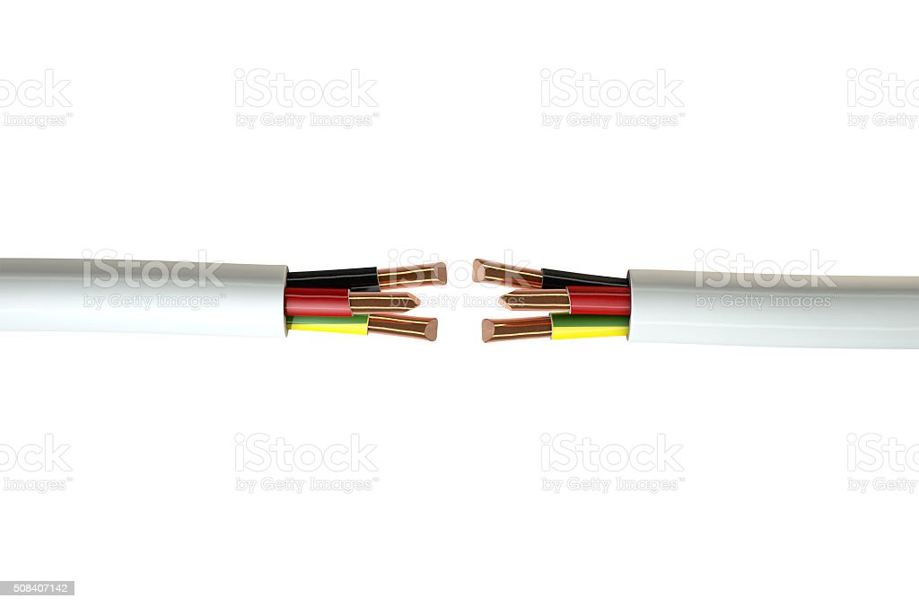 Electrical Cable Cut stock photo