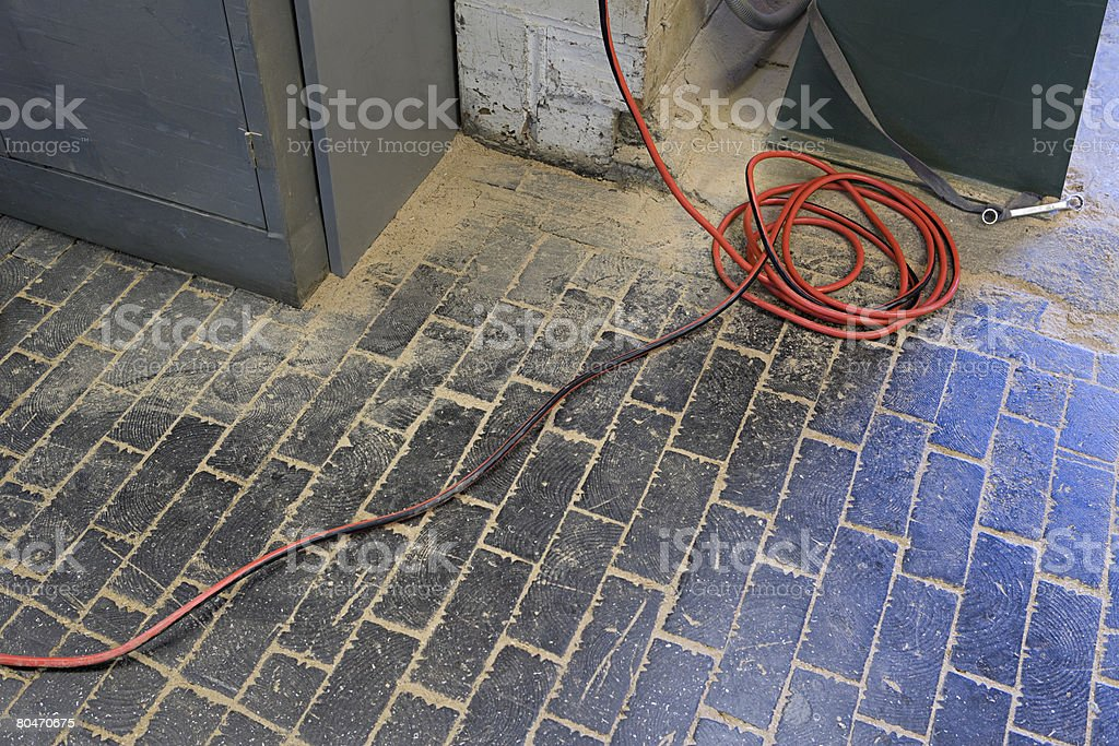 Electrical cable on the floor royalty-free stock photo