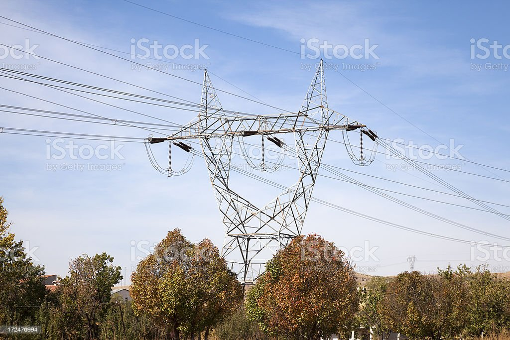 Electrical cables and poles royalty-free stock photo