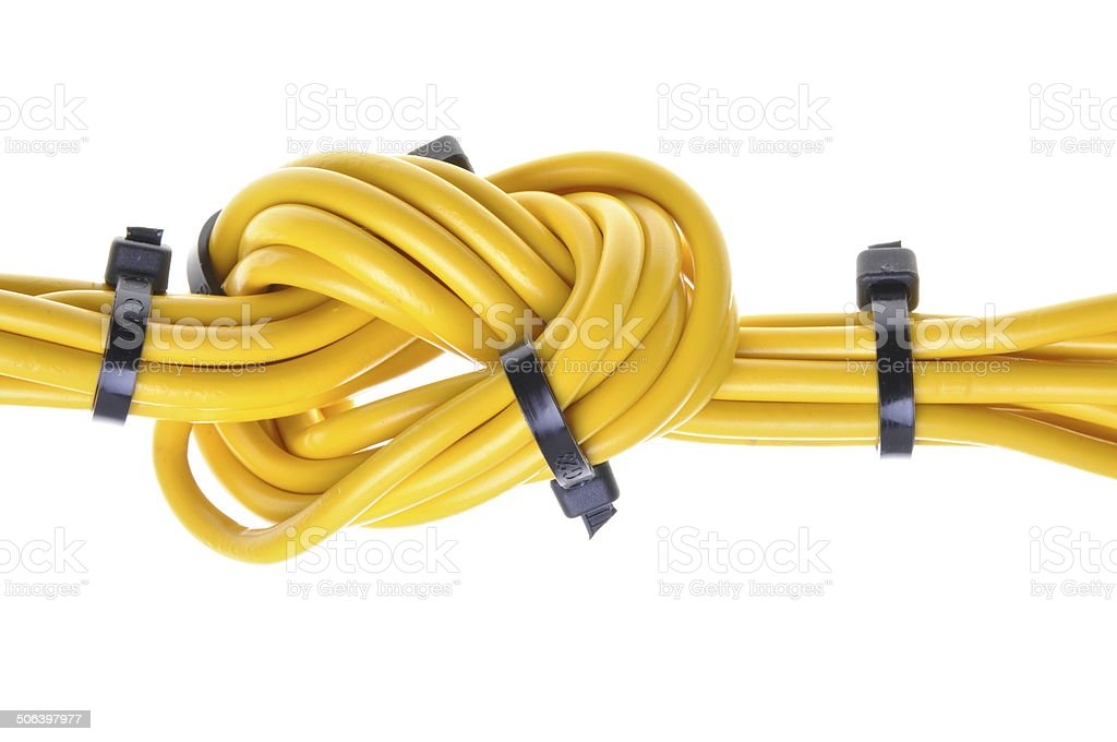 Electrical cables with cable ties stock photo