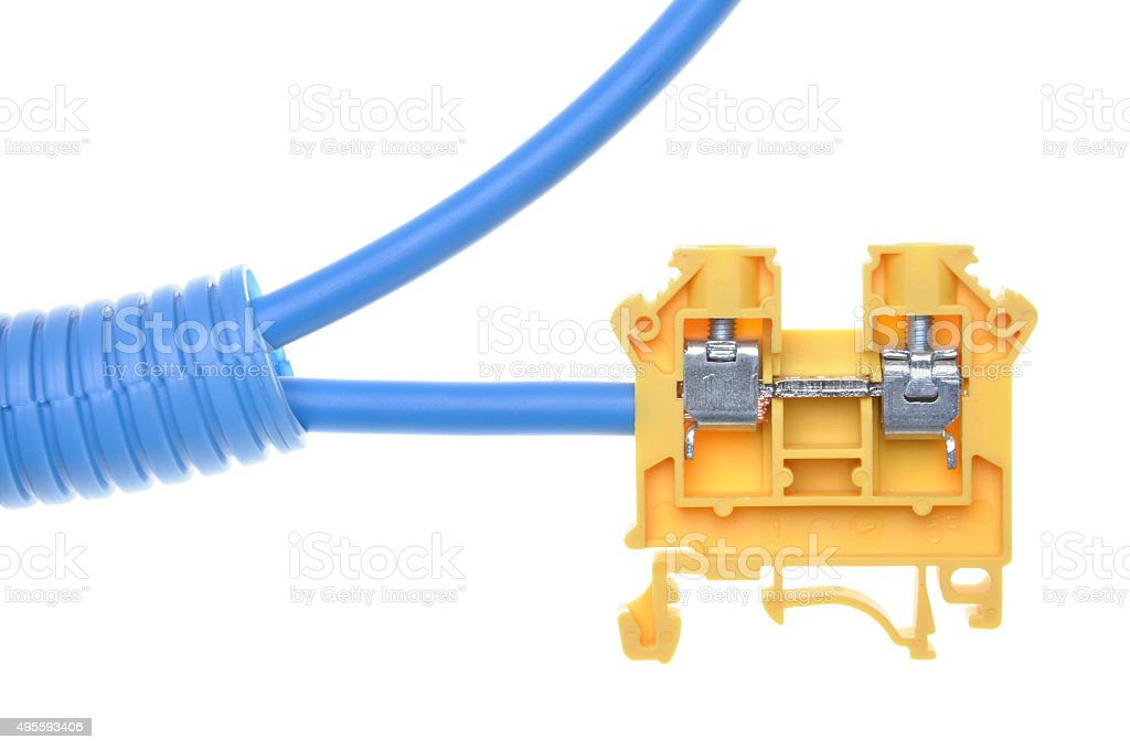 Electrical cables with terminal block stock photo