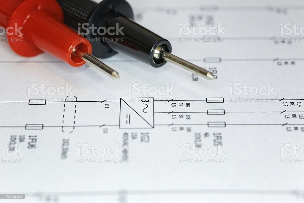 Electrical chart, troubleshoot. stock photo