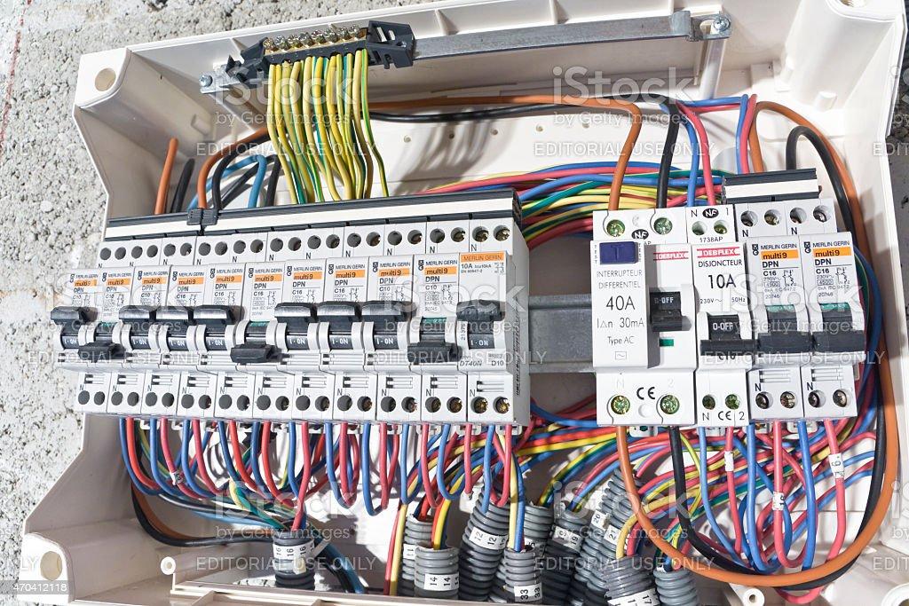 Electrical circuit breaker box installation stock photo