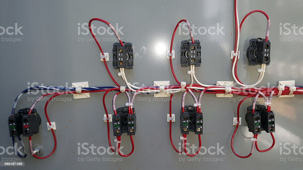 Electrical circuit switches and connectors stock photo