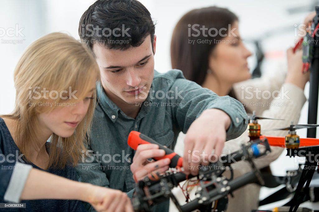 Electrical College Trade Students stock photo