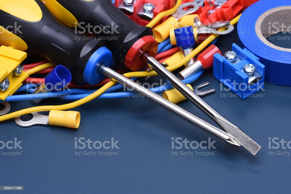 Electrical component kit to use in electrical installations stock photo