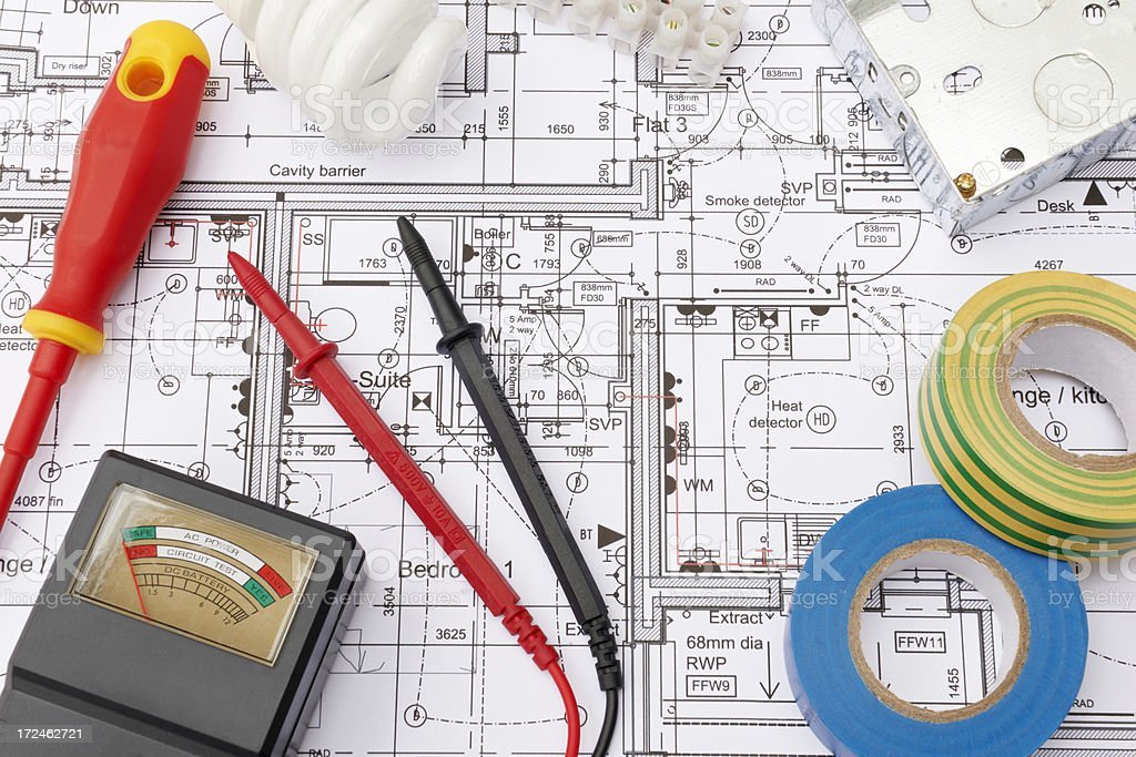 Electrical Components Arranged On House Plans stock photo