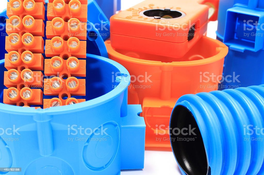 Electrical components for use in electrical installations stock photo