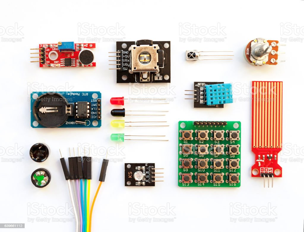 Electrical components kit for building digital devices isolated on white stock photo