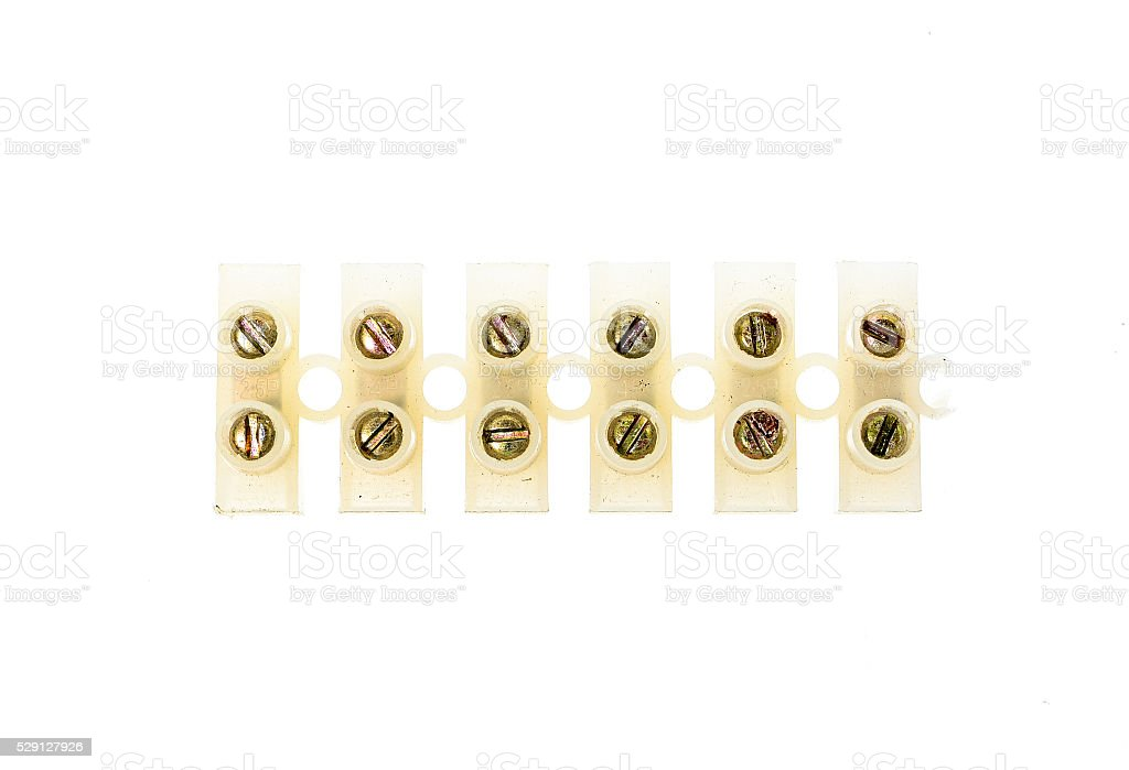 Electrical connector or terminal blocks clamps for electric cabl stock photo