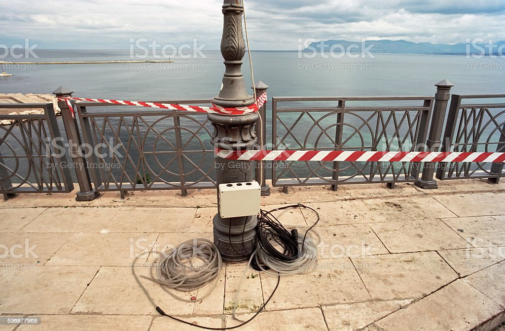 Electrical construction works at the seafront stock photo