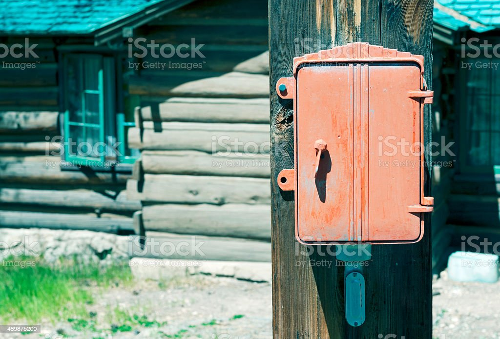 Electrical control box at Grand Canyon National Park AZ stock photo