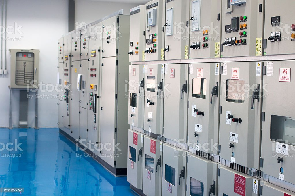 Electrical control cabinet stock photo