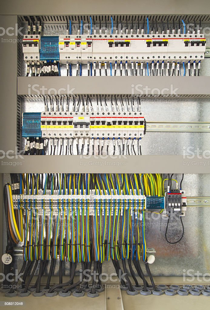 Electrical control cubicle with electrical devices stock photo