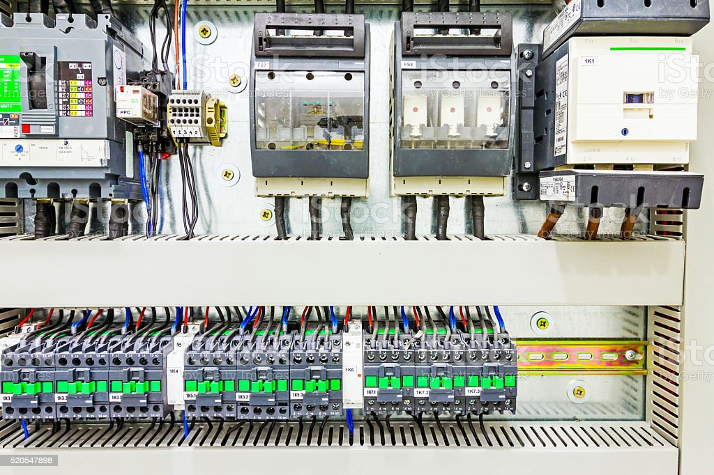 Electrical control panel in distribution fuse box. stock photo