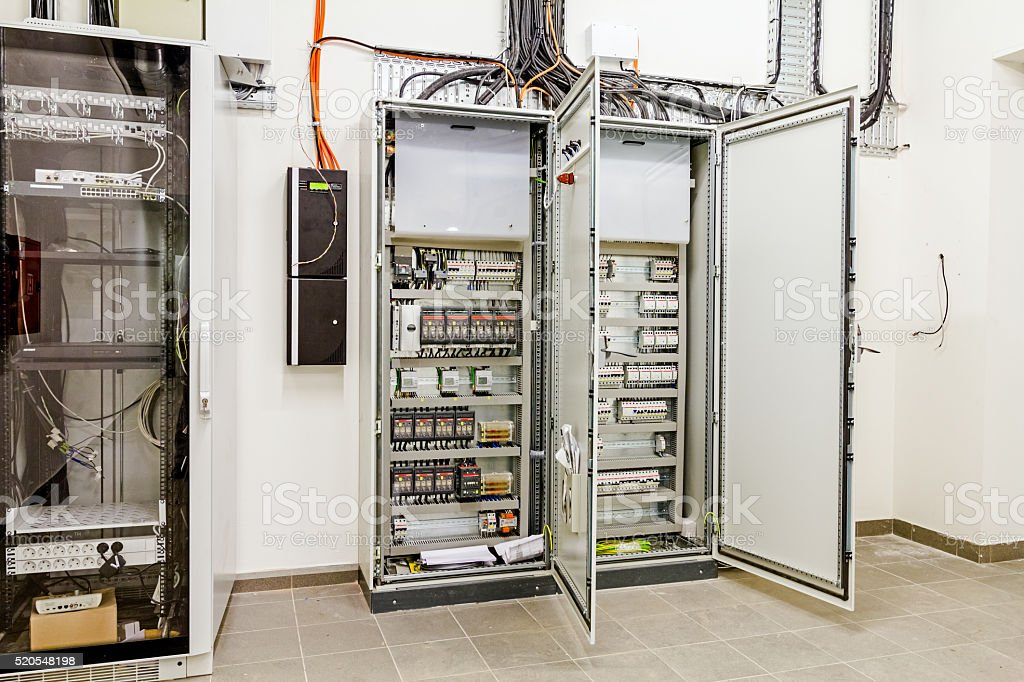 electrical control panel in distribution fuse box stock photo electrical control panel in distribution fuse box royalty stock photo