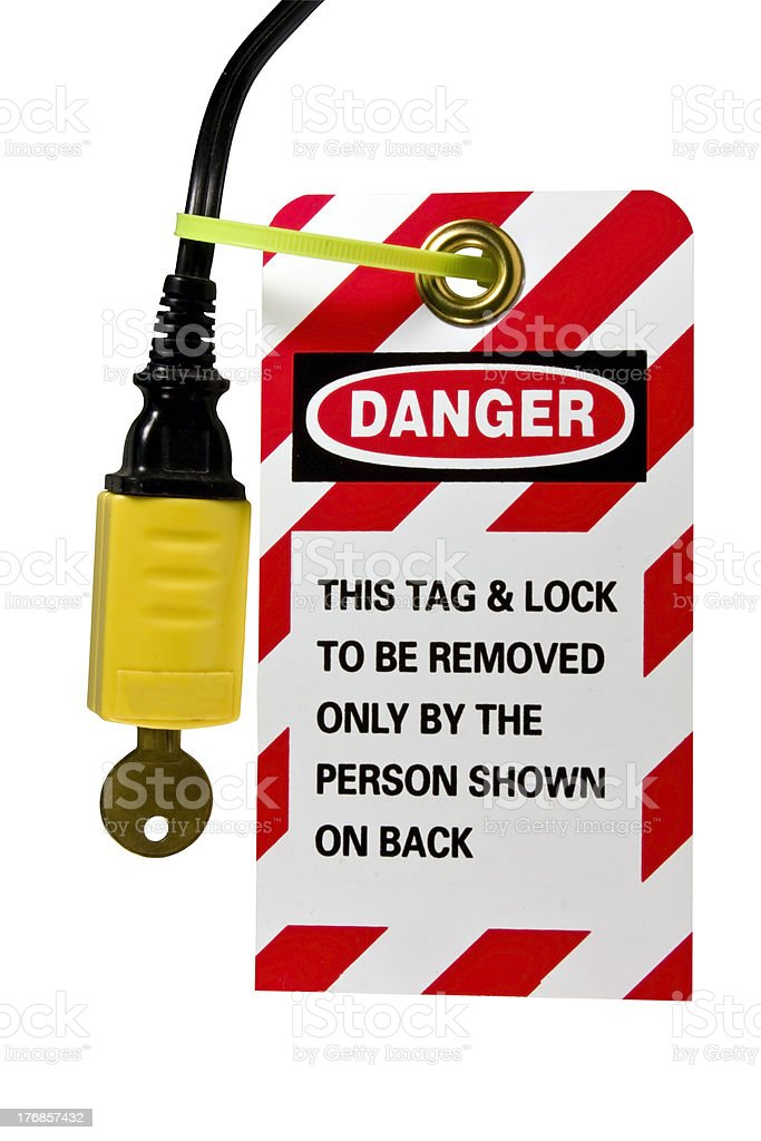 electrical cord lock out tag stock photo
