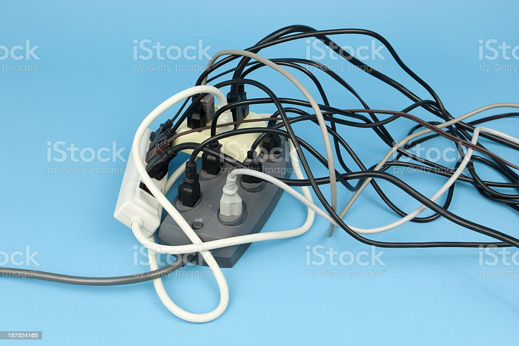 Electrical Cord Overload stock photo