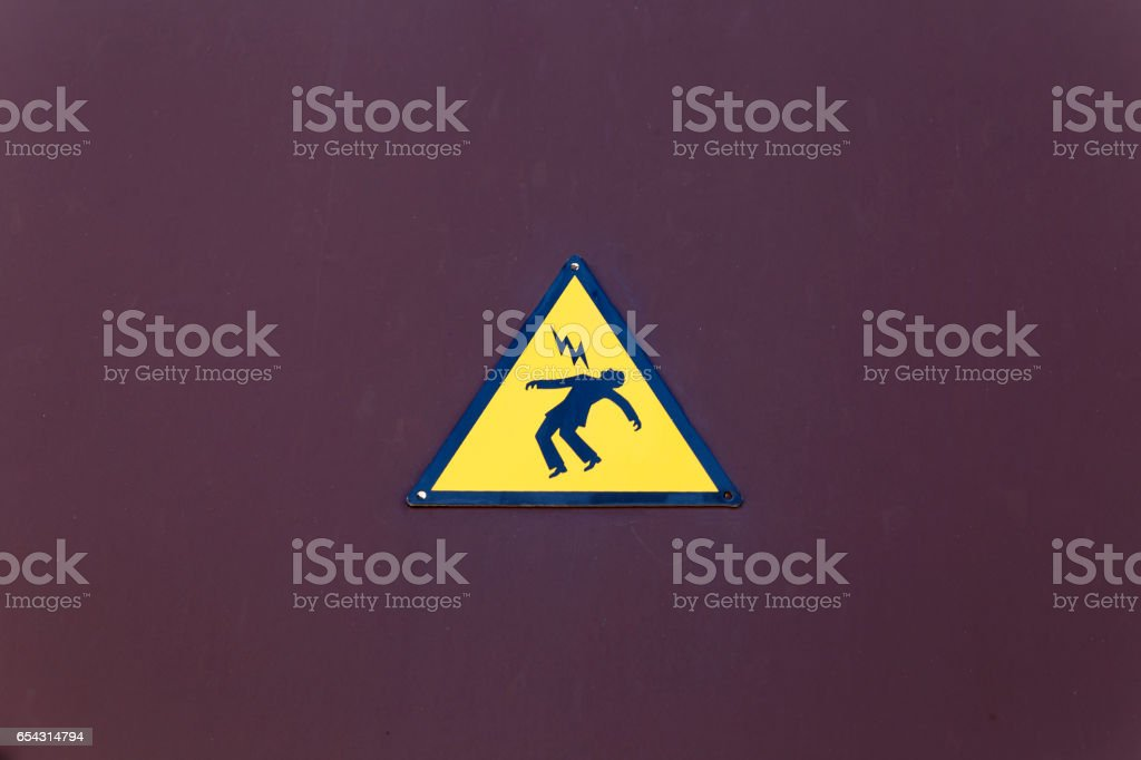 Electrical danger sign stock photo