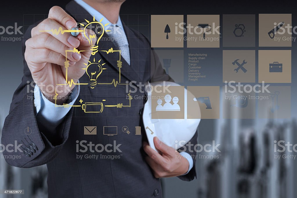 electrical engineer drawing circuit diagram on the new computer royalty-free stock photo