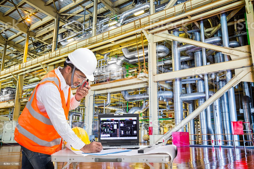 Electrical engineer working in modern thermal power plant stock photo