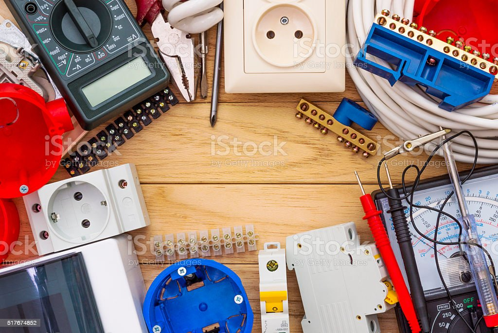 Electrical equipment for installation of electric systems stock photo