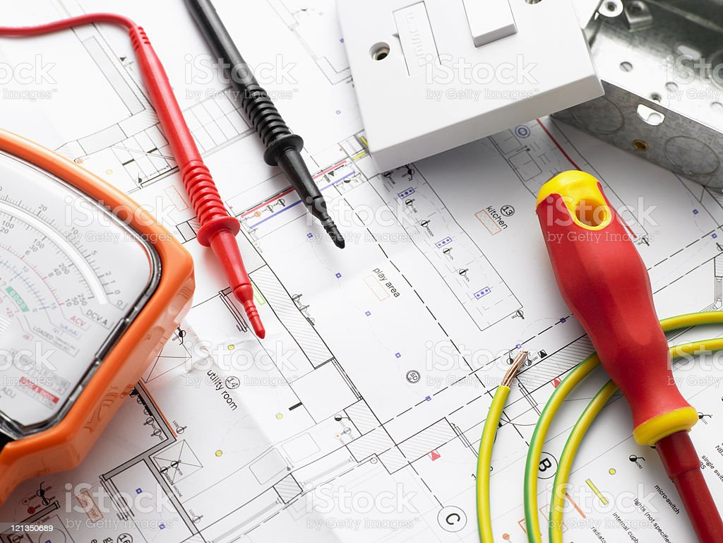 Electrical Equipment On House Plans stock photo