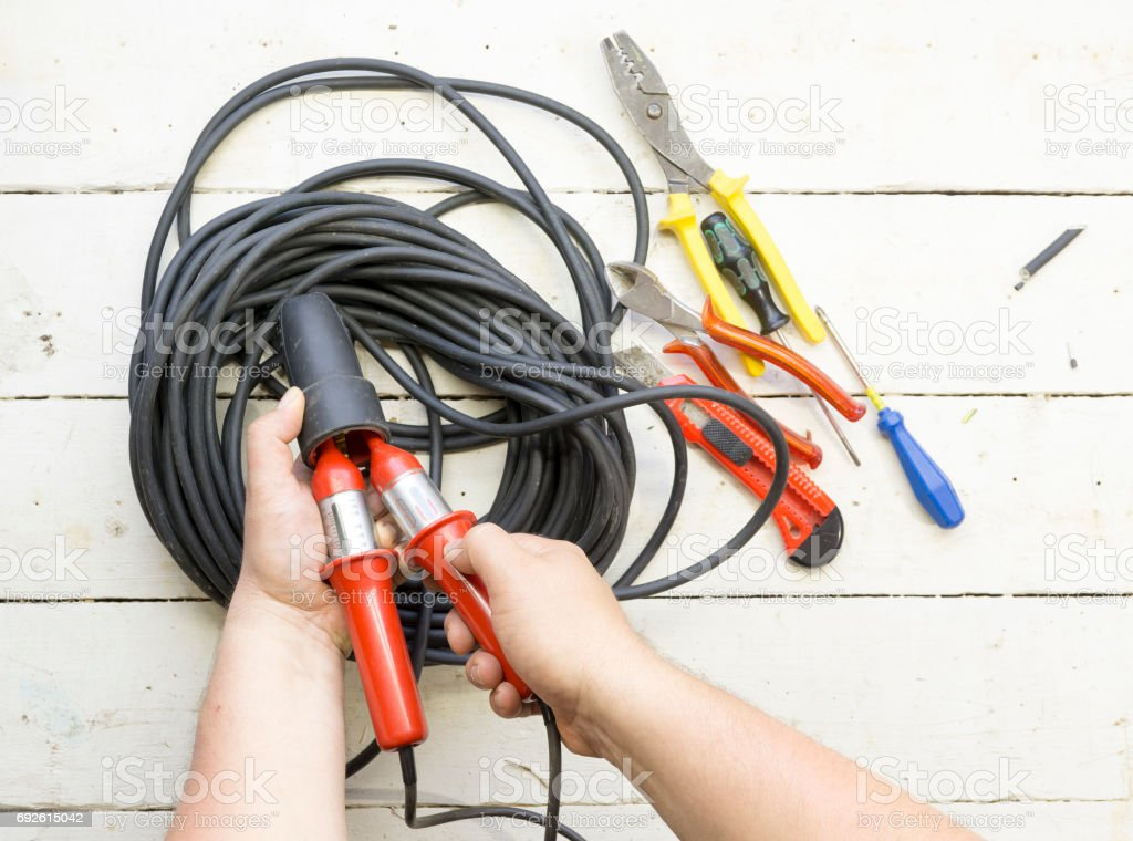 Electrical equipment used by an electrician stock photo
