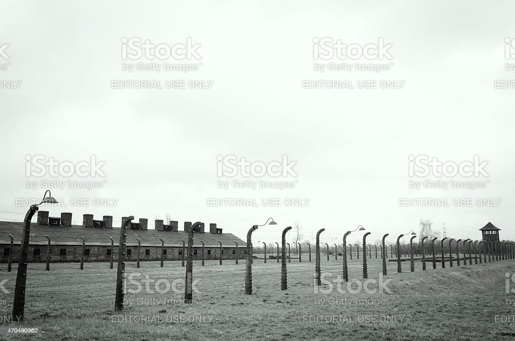 Electrical fence and lamps that surrounds the camp Auschwitz stock photo