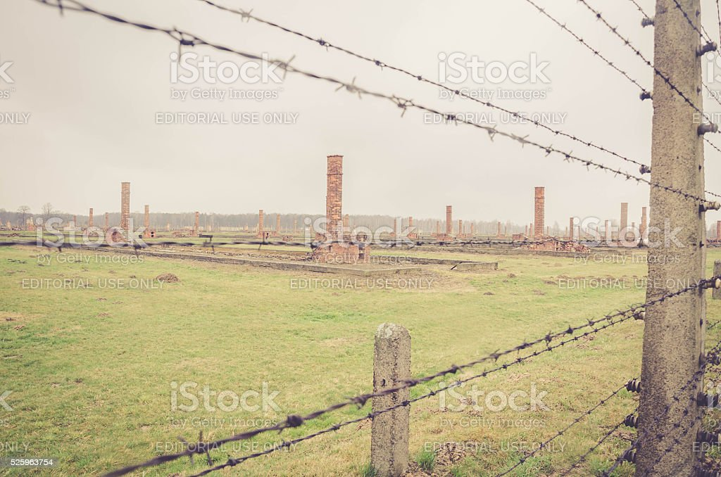 Electrical fence that surrounds the camp Auschwitz - chimneys stock photo