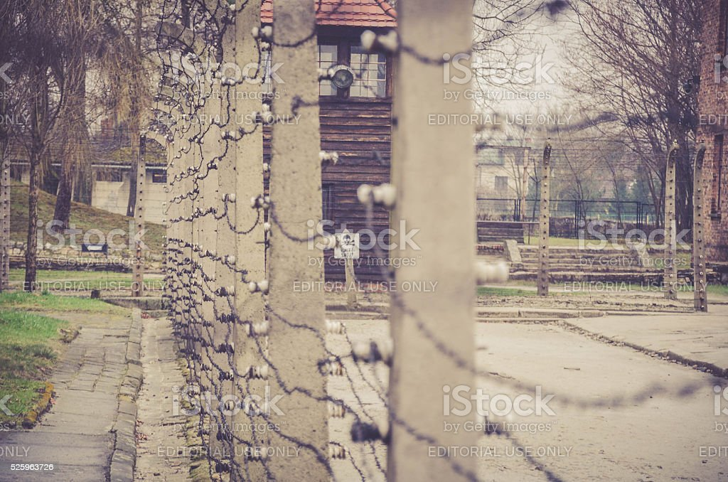 Electrical fence that surrounds the camp Auschwitz II Birkenau stock photo