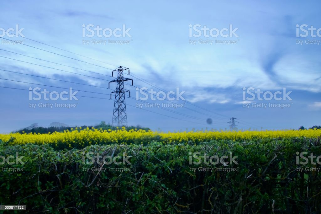 Electrical fields stock photo