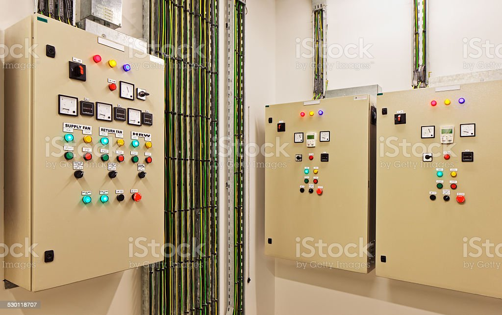 Electrical gear controling heat recovery and air conditioning stock photo