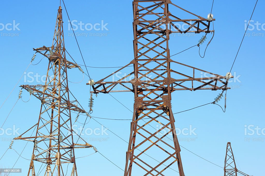 electrical grid near field stock photo