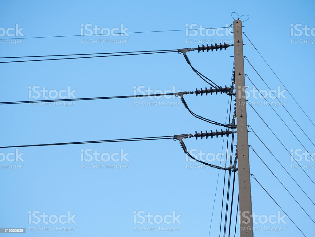 Electrical high voltage pole with blue sky. royalty-free stock photo