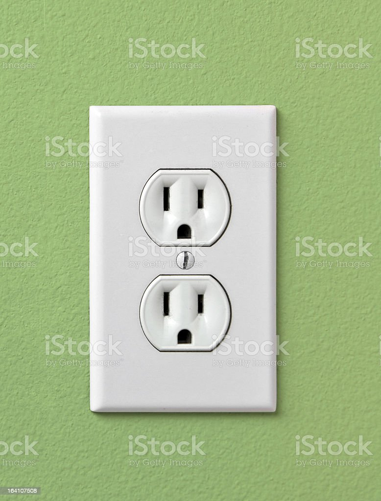 Electrical House Outlet 110- Green stock photo