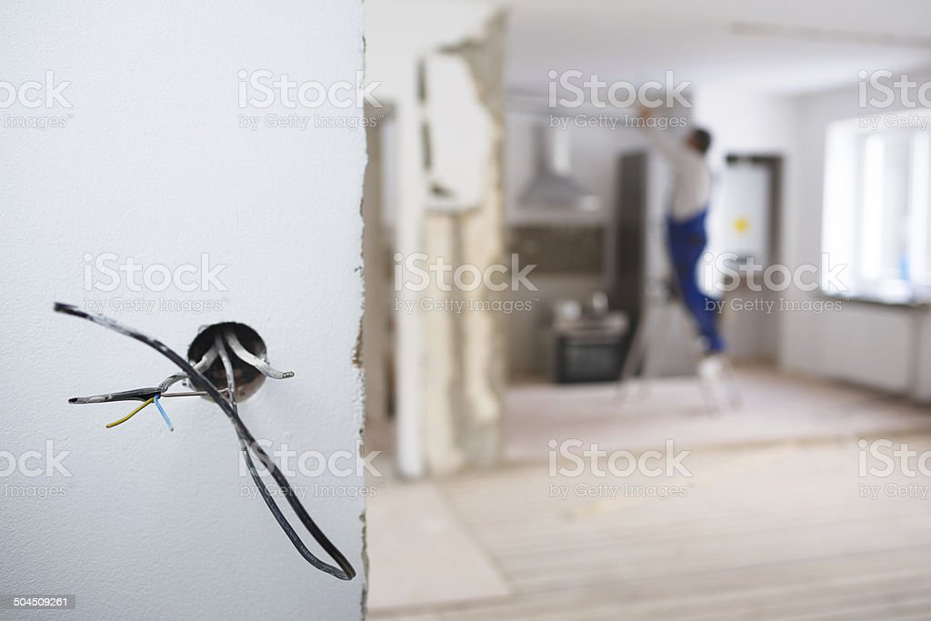Electrical installations in an apartment stock photo