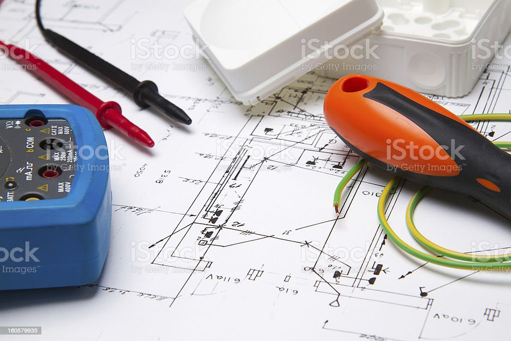 Electrical instruments on blueprint stock photo