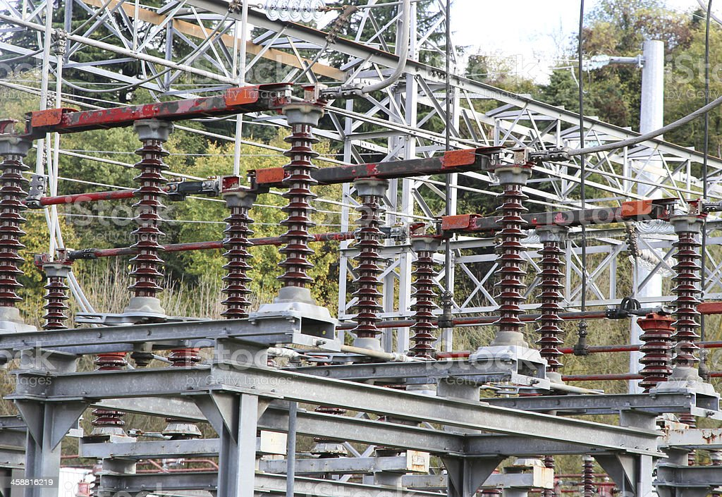 Electrical insulators of a  electricity power station stock photo