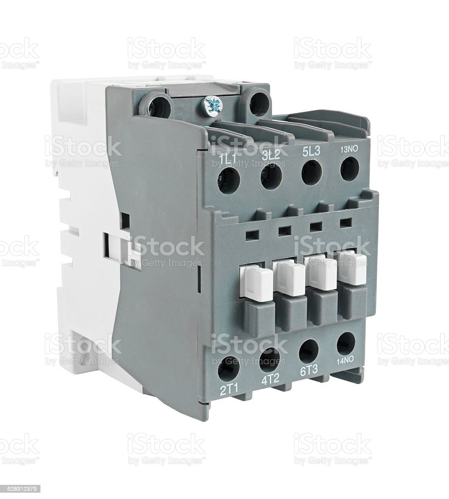 Electrical Magnetic Contactor isolated on white background stock photo