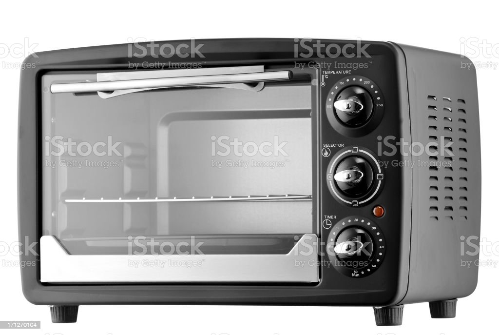 Electrical microwave oven in gray and black on white stock photo