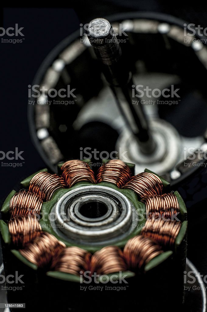 Electrical motor from inside stock photo
