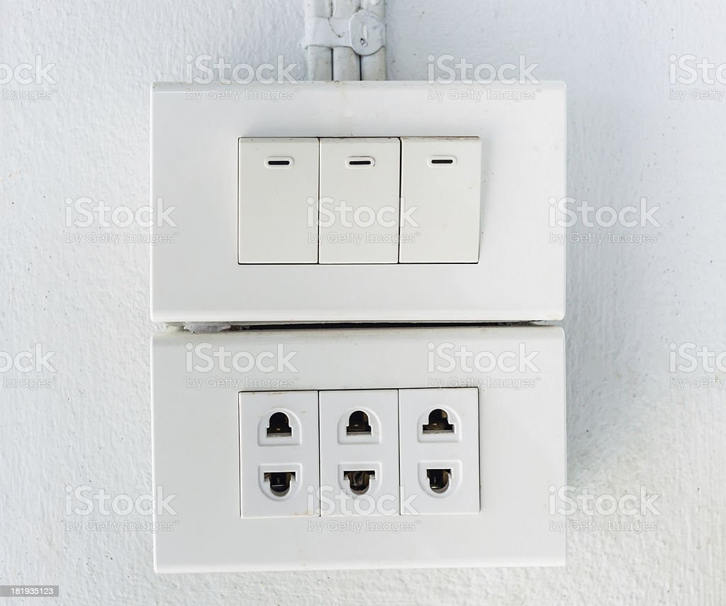 electrical outlet on a wall royalty-free stock photo